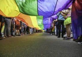 pride rainbow flag underneath